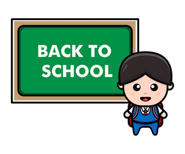 Cute student kids back to school concept illustration