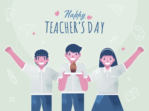 かわいい学生の子供たちが幸せな先生の日のお祝いにカップケーキを提示します。