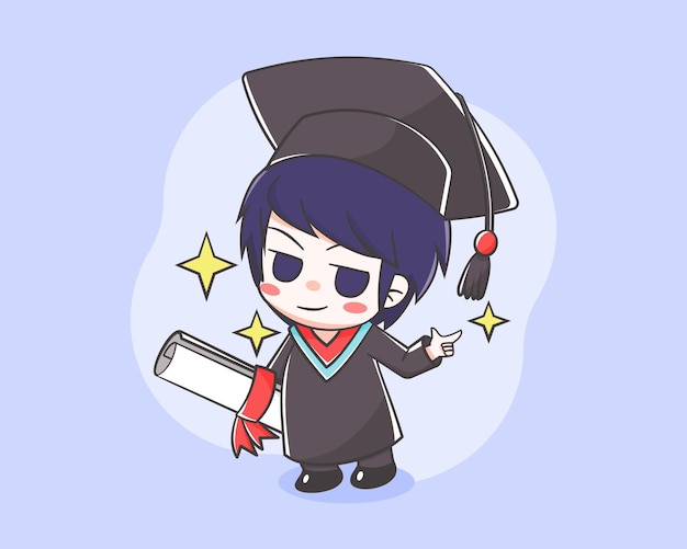 卒業式漫画イラストのかわいい学生