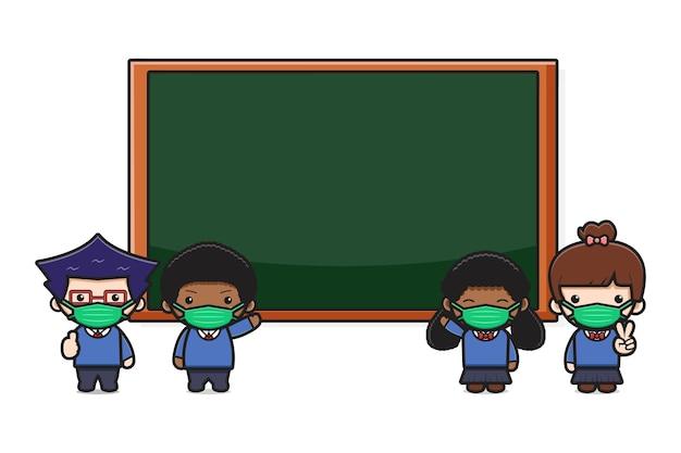 마스크 새로운 일반 스타일 만화 삽화와 함께 보드 앞에 서 있는 귀여운 학생. 흰색 평면 만화 스타일에 고립 된 디자인입니다.