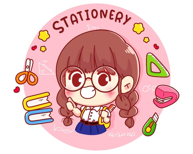 Cute student with stationery cartoon character illustration