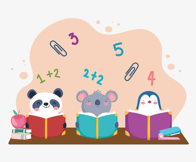 Cute students animals reading