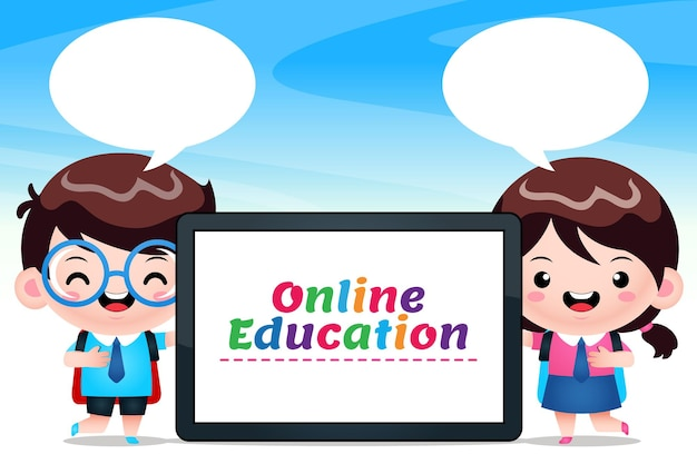 Cute students holding phone tablet  online education