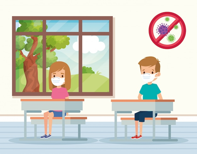 Cute students using face mask in classroom illustration design