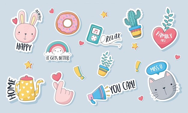 Cute stuff for cards stickers or patches decoration cartoon set icons