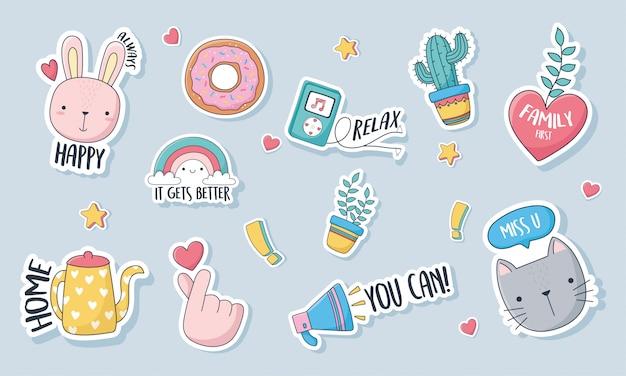 卡片贴纸或补丁装饰动画片套图标的可爱的东西