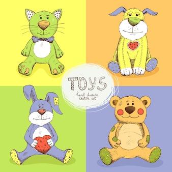 Набор милые мягкие игрушки. медведь, кролик, собака и кошка