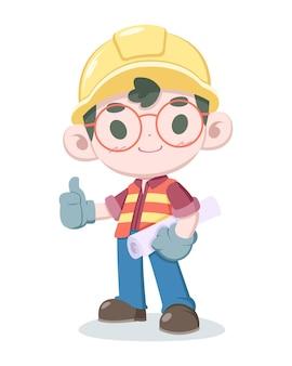 Симпатичный стиль иллюстрации шаржа строителя