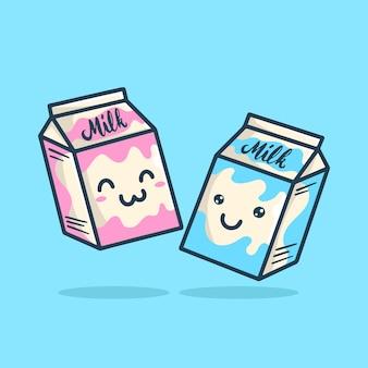 Симпатичный стиль молочного молока пакет коробки мультипликационный персонаж иллюстрации.