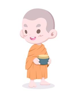 かわいいスタイルの幸せな初心者仏教僧と施し-ボウル漫画イラスト