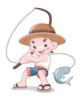 나무 막대 만화와 함께 낚시하는 귀여운 스타일 일본 소년