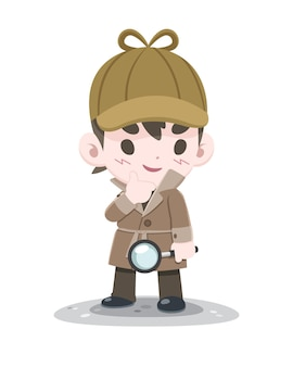 Cute style little confident detective with magnifier cartoon