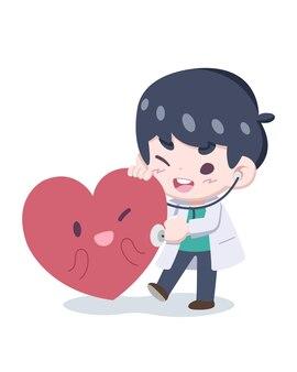 귀여운 스타일 작은 의사 검진 케어 일러스트와 함께 심장