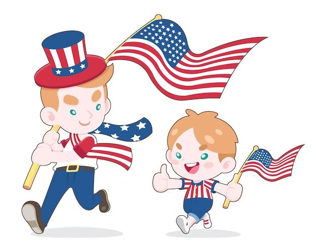 かわいいスタイルの男と少年がアメリカの旗を振って、お互いに笑顔の漫画イラスト
