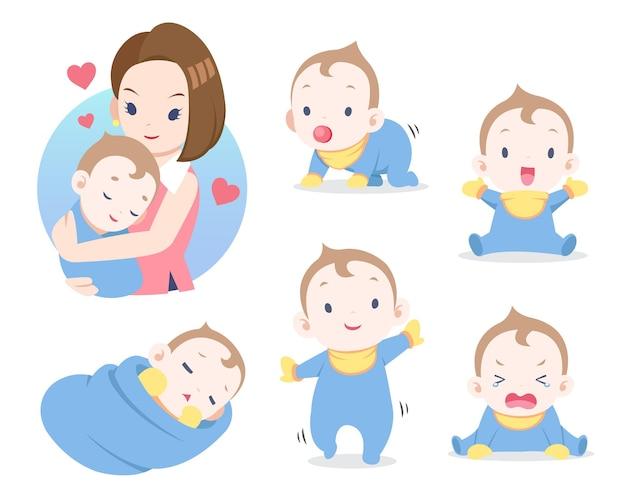 Милый стиль иллюстрации шаржа матери и ребенка