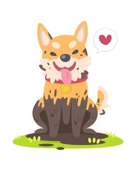 草の床の漫画に座っているかわいいスタイルの泥だらけの幸せな犬