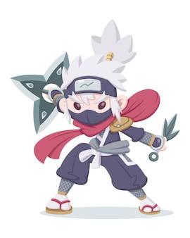 Cute style ninja in fighting stance cartoon illustration Premium Vector
