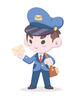 Милый стиль почтальон, держащий письмо карикатуры