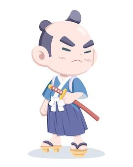 Симпатичный самурай в повседневной одежде иллюстрации шаржа