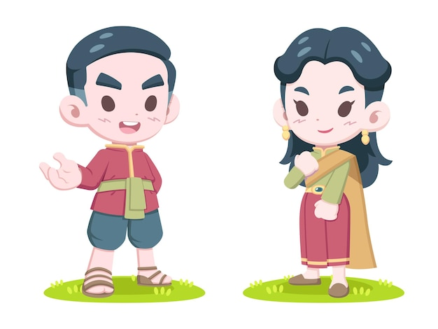 Cute style thai couple in traditional dress cartoon