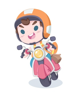 Cute style thai motorcycle taxi driver cartoon illustration