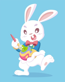 Cute style white easter rabbit painting an egg cartoon illustration