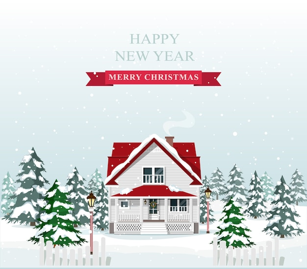 Cute stylish european house decorated for christmas. merry christmas landscape.  illustration.