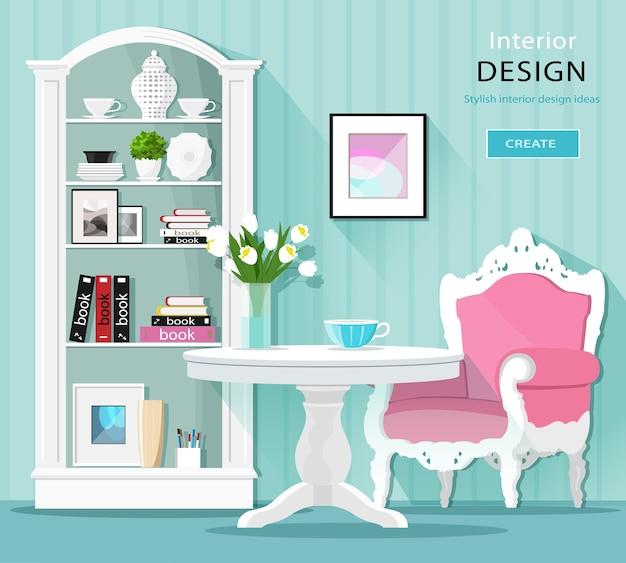 귀여운 세련된 그래픽 룸 장식. 테이블, 안락 의자 및 찬장이있는 밝은 색상의 실내 인테리어. 삽화.