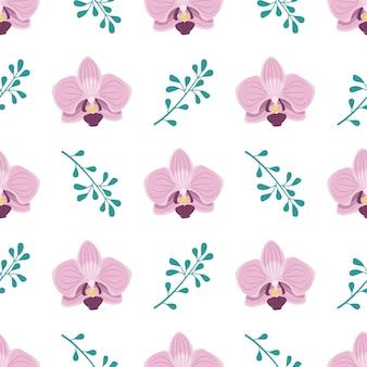 ピンクの蘭の花と小枝のキュートでスタイリッシュなシームレスパターン