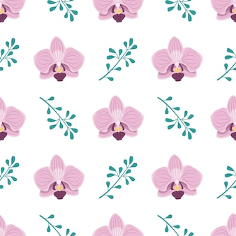 Cute stylish seamless pattern with pink orchid flowers and twigs
