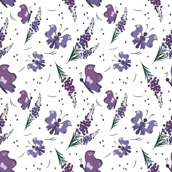 보라색 꽃과 나비와 함께 귀여운 세련 된 완벽 한 패턴입니다. 봄 프린트는 직물, 포장지, 다양한 디자인에 적합합니다. 평면 벡터 일러스트 레이 션