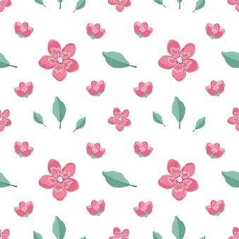 桜の花と小枝のキュートでスタイリッシュなシームレスパターン。スプリングプリントは、テキスタイル、包装紙、さまざまなデザインに適しています。フラットベクトルイラスト