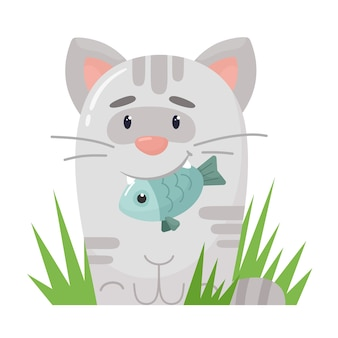Cute stylized kitten with a fish in his teeth.  in flat cartoon style.