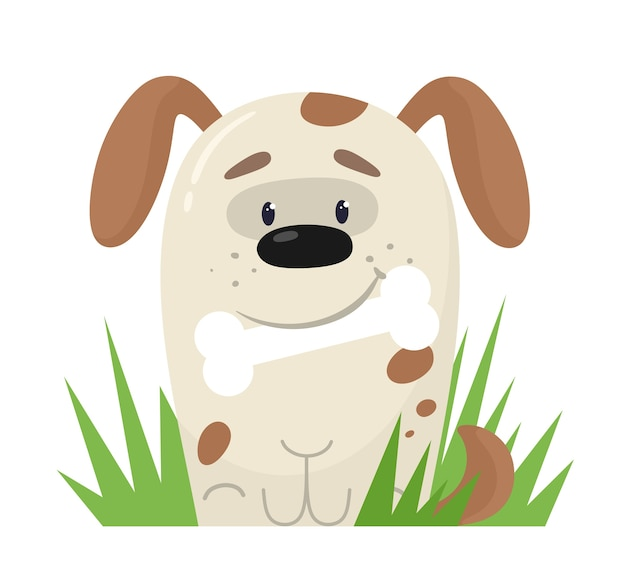 Cute stylized puppy with a bone in his teeth.  in flat style.
