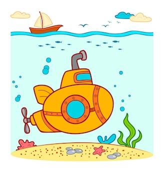 Cute submarine underwater. submarine vector illustration