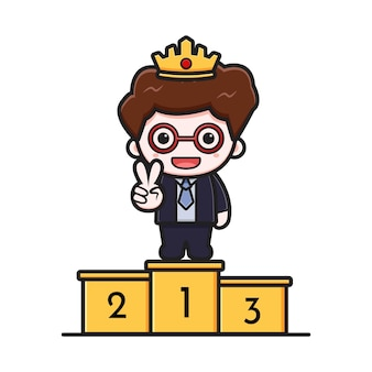 Cute successful businessman on the first podium cartoon vector icon illustration. design isolated on white. flat cartoon style.