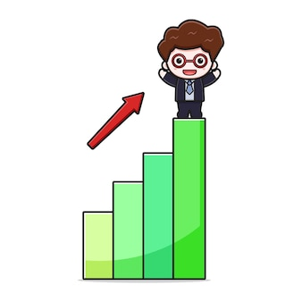 Cute successful businessman with inflation chart cartoon vector icon illustration. design isolated on white. flat cartoon style.