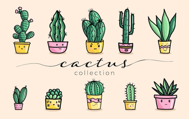 Cute succulent and cactus plant with happy face vector illustration set