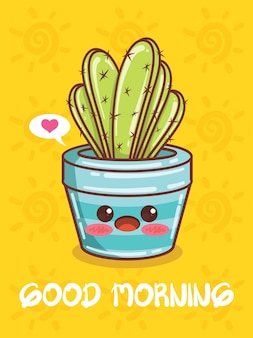 귀여운 즙이 많은 식물 냄비 만화 캐릭터와 삽화. 좋은 아침 개념.