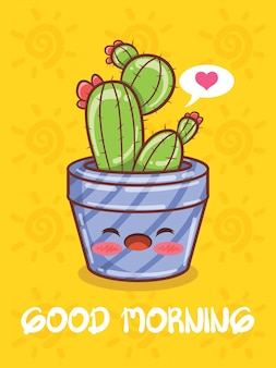 Cute succulent plant pot cartoon characters and illustrations. good morning concept.