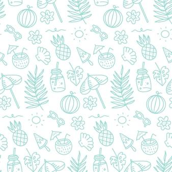 귀여운 여름 추상 선형 패턴 낙서 원활한 패턴