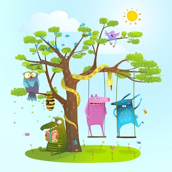 Милые летние животные дружат играть под елкой, качаться, читать.