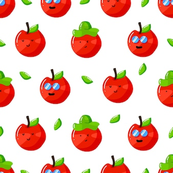 Cute summer apple cartoon character with flat hand drawn style seamless pattern