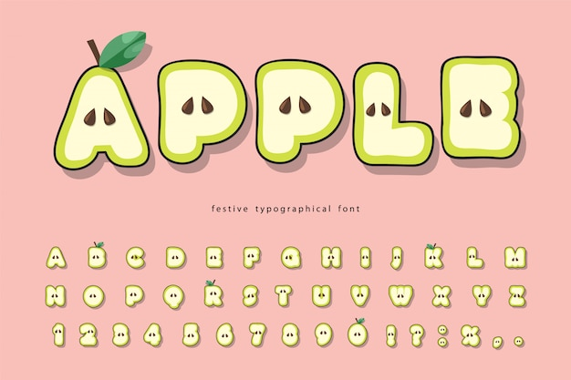 かわいい夏アップルフォントです。漫画の紙は子供のためのアルファベットをカットしました。