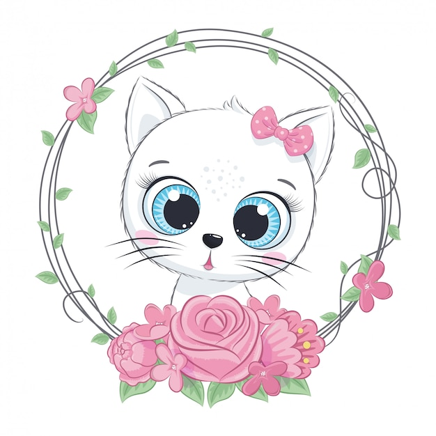 Cute summer baby cat with flower wreath. vector illustration for baby shower, greeting card, party invitation, fashion clothes t-shirt print.