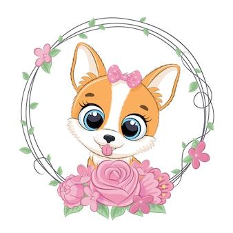 Милая летняя собака с цветочным венком. иллюстрация