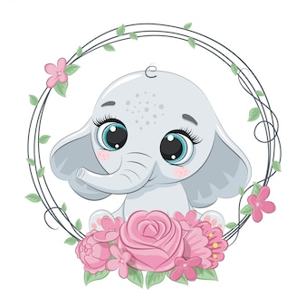 Cute summer baby elephant with flower wreath.   illustration