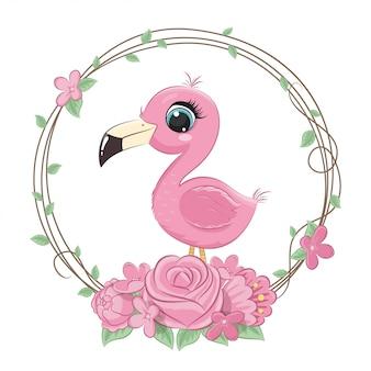 Cute summer baby flamingo with flower wreath.   illustration