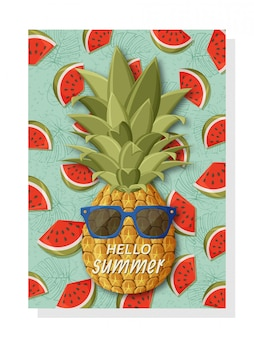 Cute summer background template for banners and wallpapers, invitation cards and posters. cool pineapple in sunglasses and watermelons at the back.