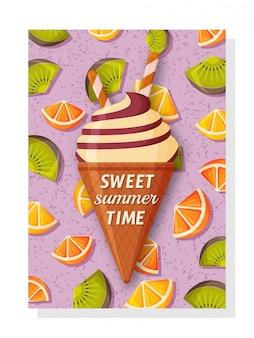 배너 및 월페이퍼, 초대 카드 및 포스터 귀여운 여름 배경 템플릿입니다. 뒤에 달콤한 아이스크림과 키위, 오렌지와 레몬.